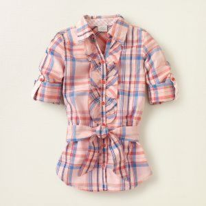 THE CHILDREN'S PLACE Girls Coral Pink Plaid Tunic